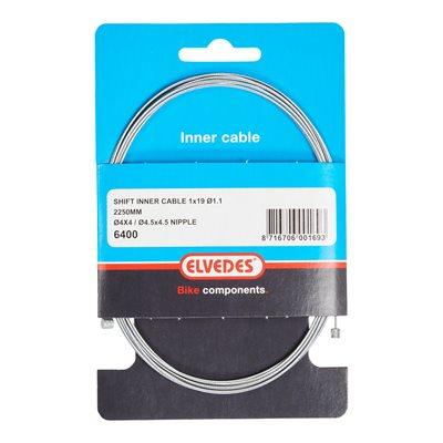 Cable de vitesses 2 250mm 1×19 acier galvanisé Ø1,1mm embouts Ø4×4 et embout en T Ø4,5×4,5