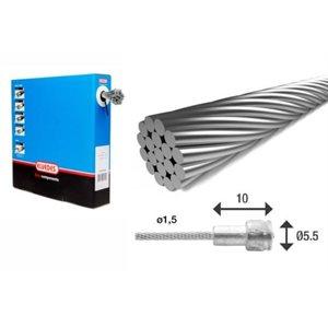 100 Câbles de vitesses 2 250mm 1 × 19 fils en acier inoxydable Ø1,1mm lisses avec embout en N Ø4 × 4